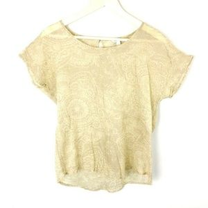 (H2-18) Sonoma Small Beige Blouse Floral Semi-shee